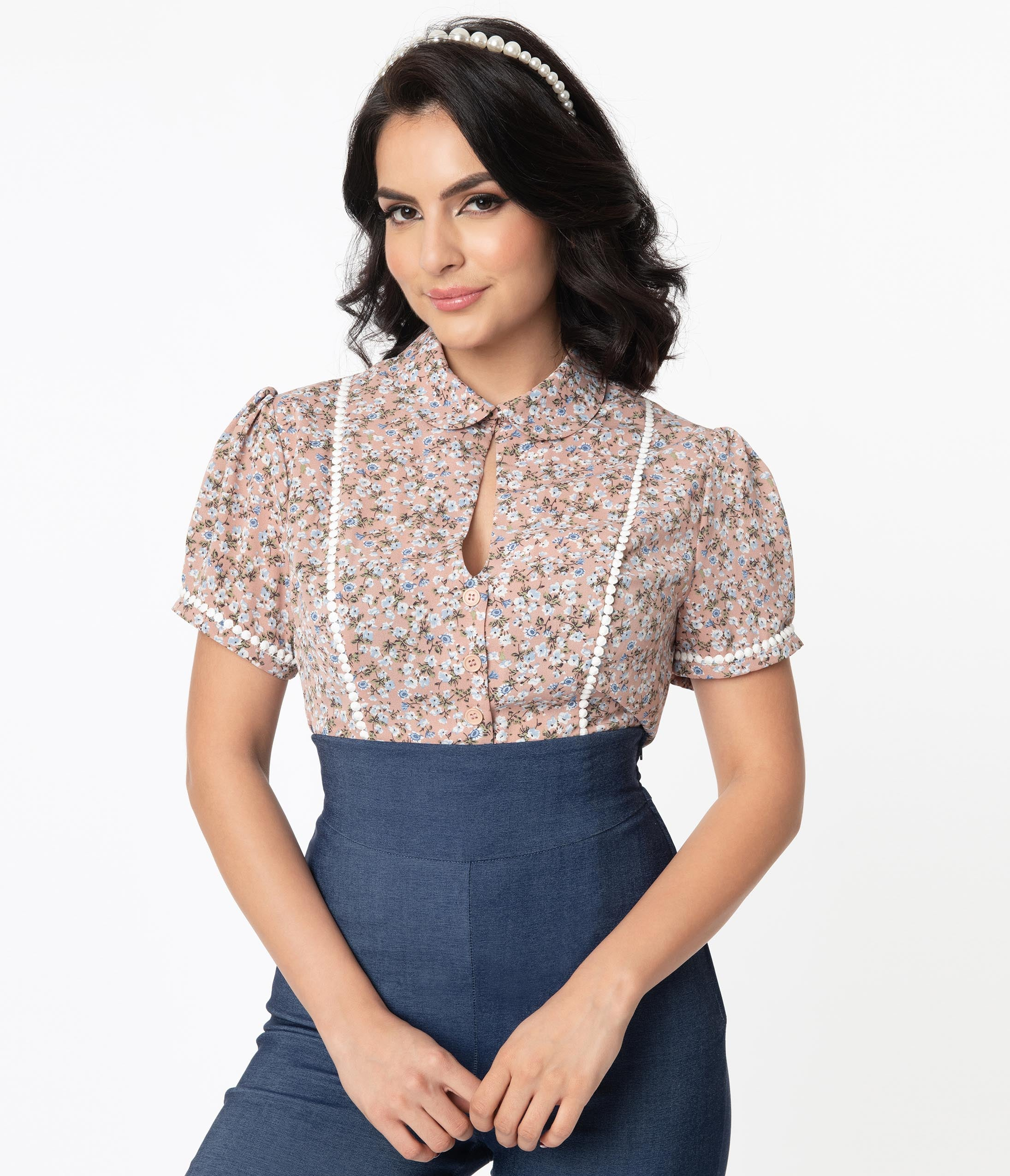 1940s Blouses and Tops Unique Vintage Dusty Pink  Blue Ditsy Floral Pinky Top $54.00 AT vintagedancer.com