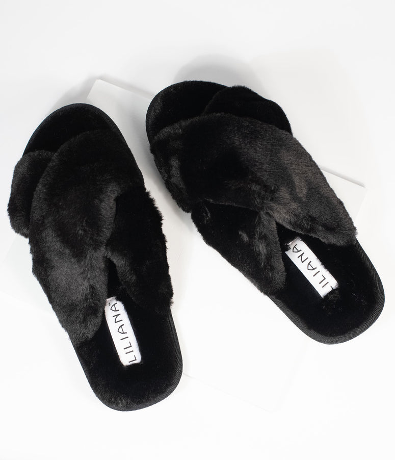 Black Fuzzy Cross Strap Slippers