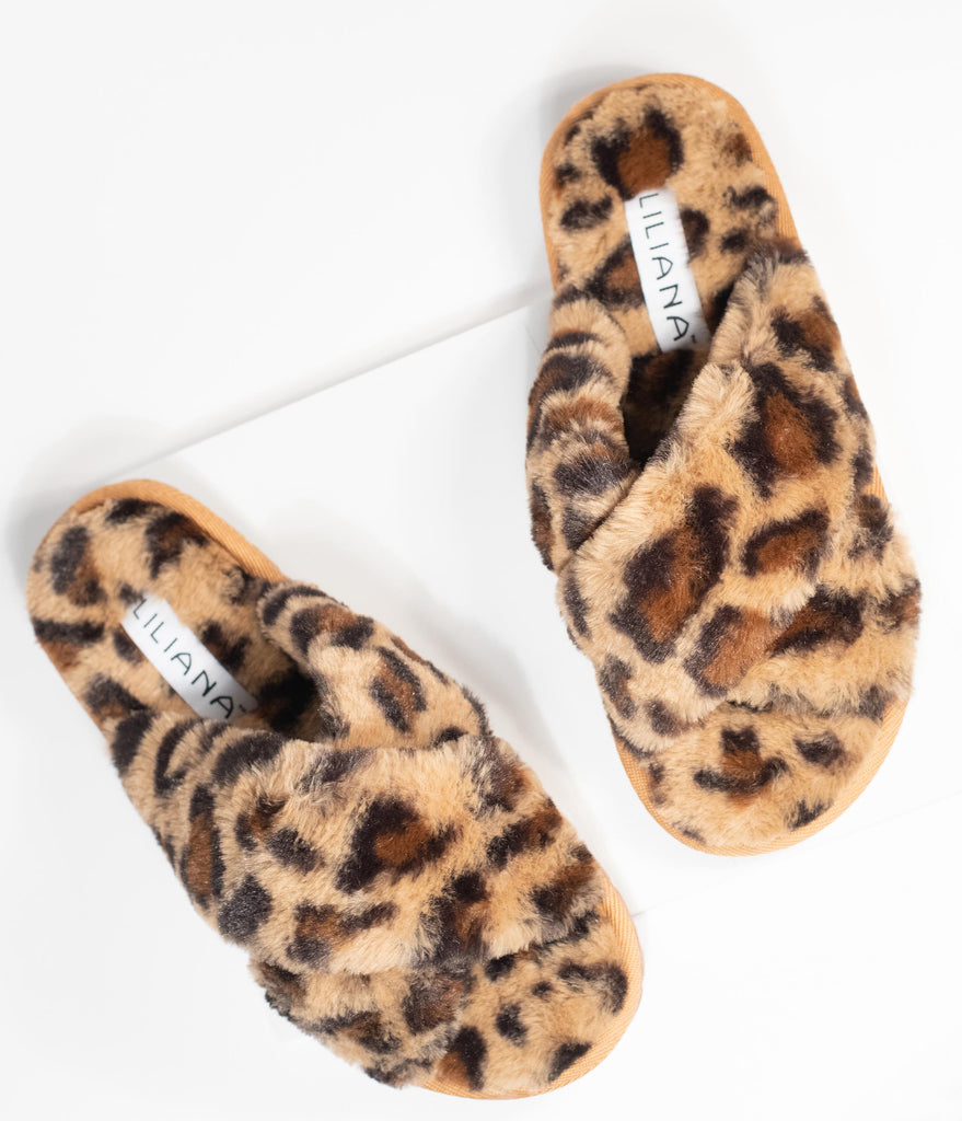 Leopard Fuzzy Cross Strap Slippers