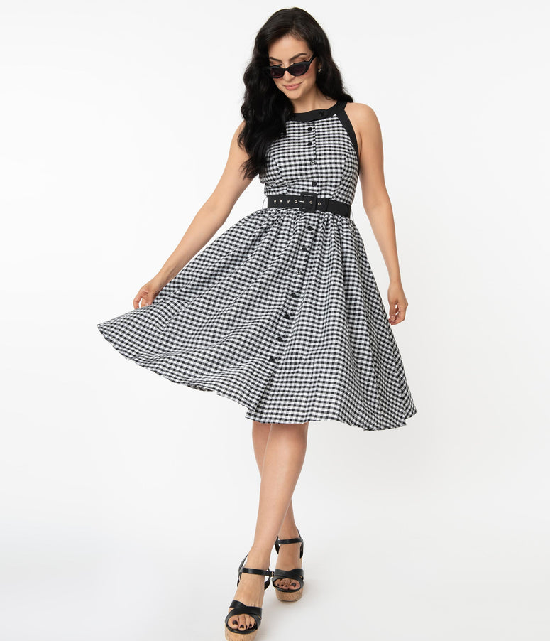 Unique Vintage Black & White Gingham Maxine Swing Dress