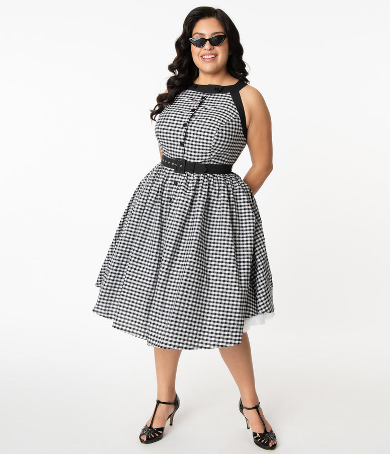 Unique Vintage Plus Size Black & White Gingham Maxine Swing Dress
