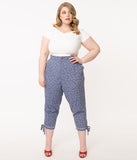 Unique Vintage Plus Size Chambray & White Daisy Annette Capri