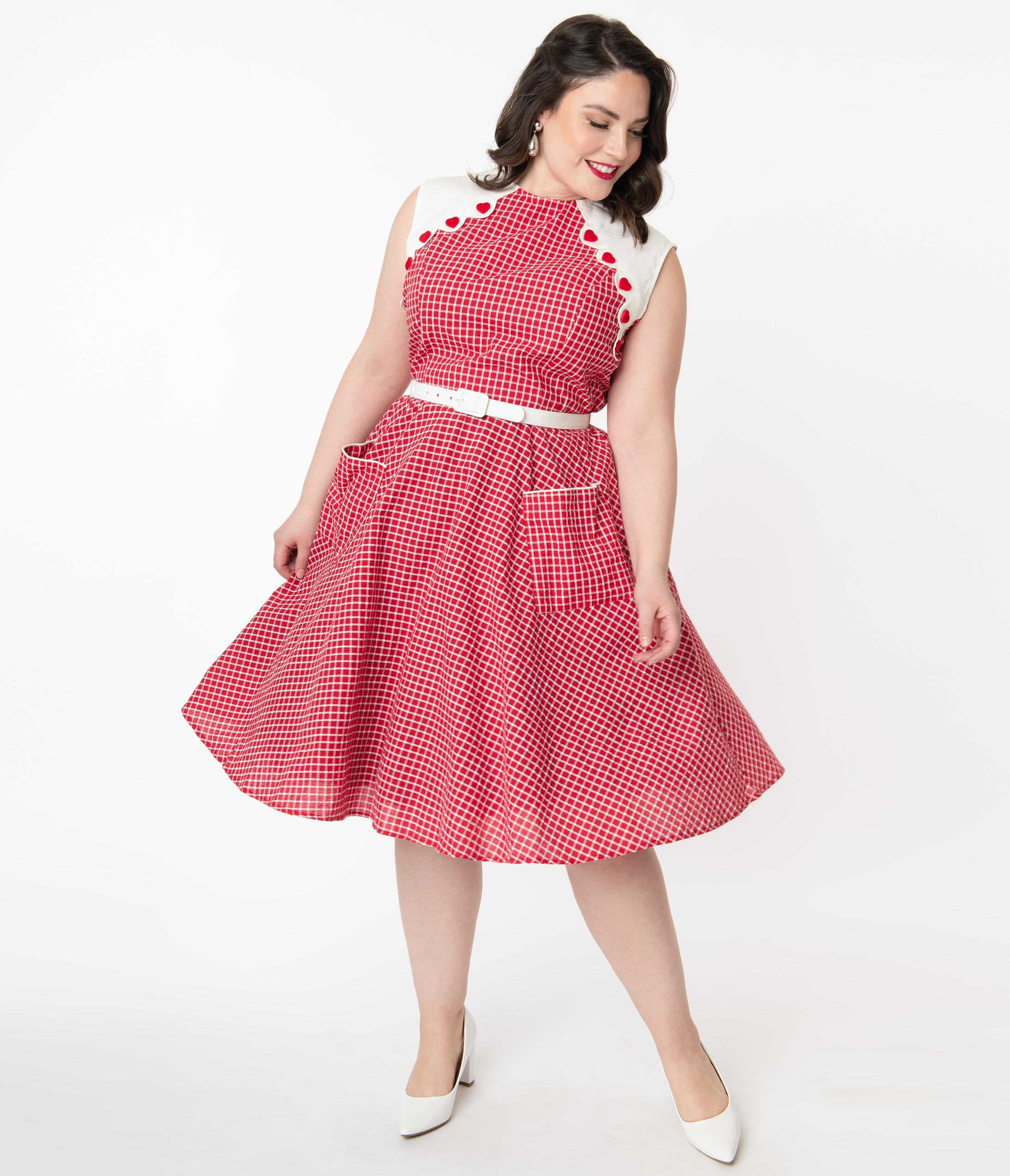 60s 70s Plus Size Dresses, Clothing, Costumes Unique Vintage Plus Size 1950S Red  White Gingham Tully Swing Dress $98.00 AT vintagedancer.com
