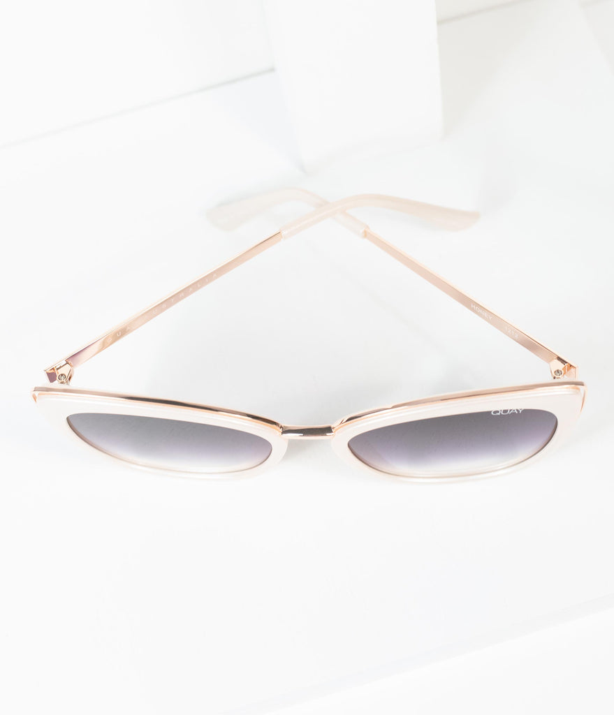 Quay Pearl White Honey Cat Eye Sunglasses