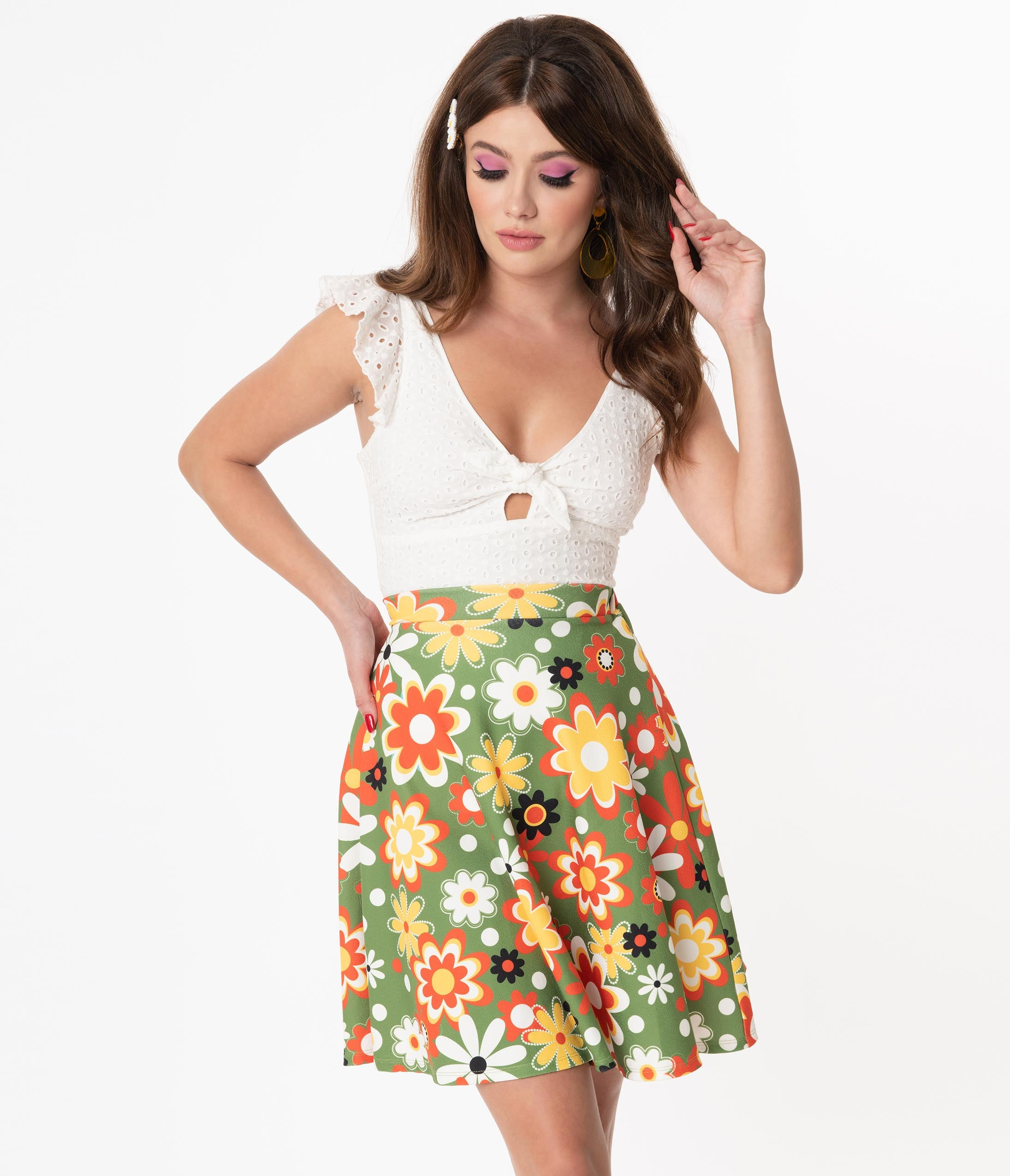 1960s Style Clothing & 60s Fashion Smak Parlour Retro Geo Floral Print Sweet Talk Skirt $48.00 AT vintagedancer.com