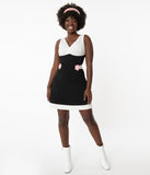 Smak Parlour Black & White Center Stage Flare Dress