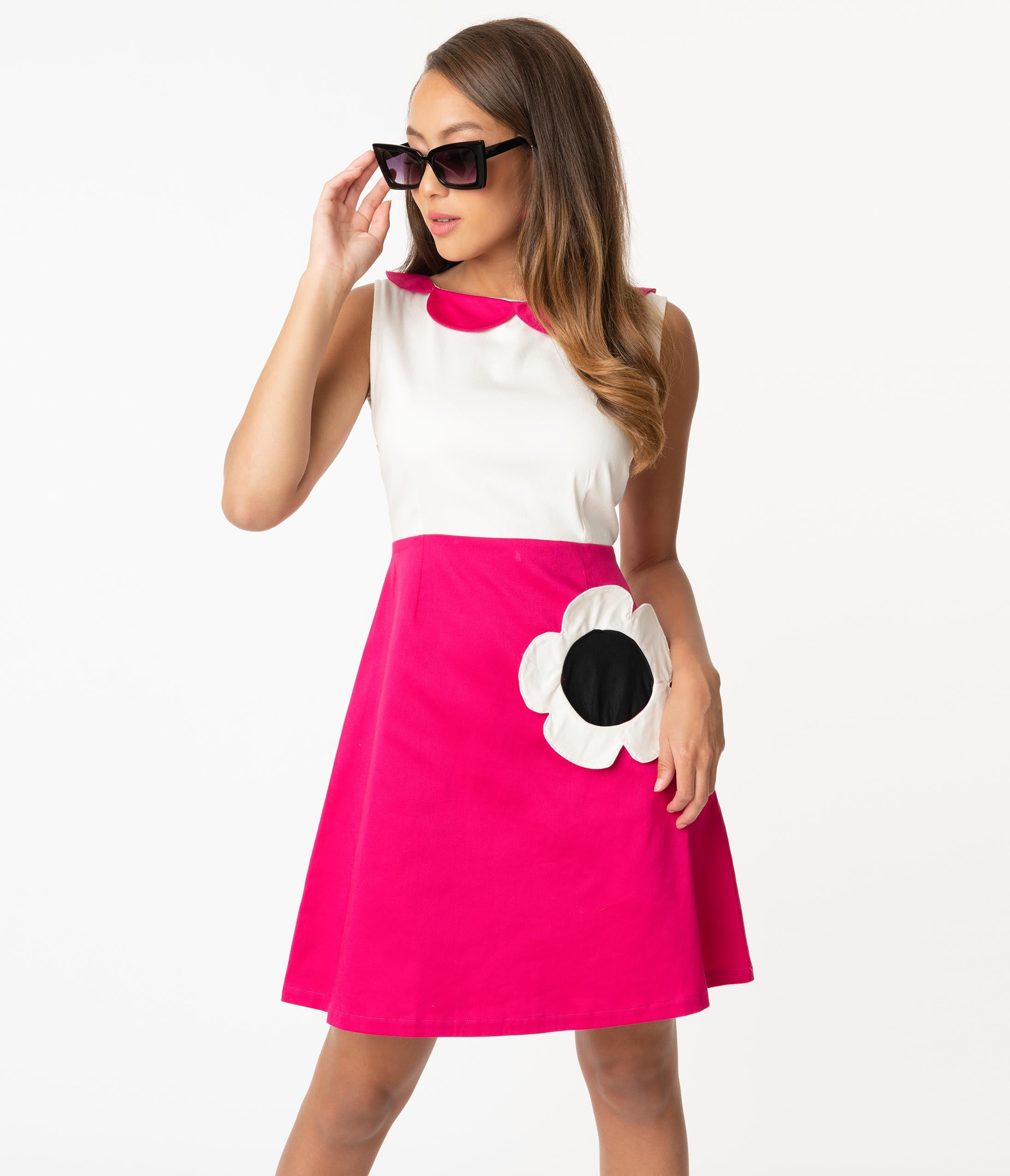 60s Mod Clothing Outfit Ideas Smak Parlour Hot Pink  White Flower Model Maven Flare Dress $62.00 AT vintagedancer.com