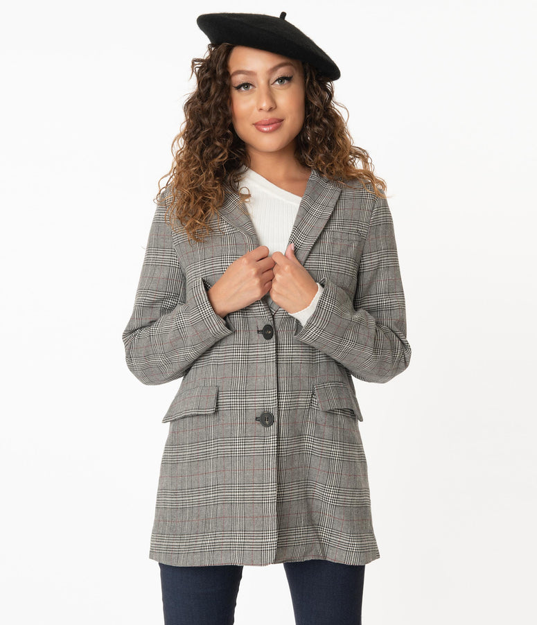 Charcoal Grey Glen Plaid Long Blazer
