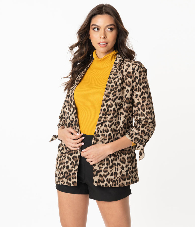 Retro Style Leopard Print Everyday Blazer