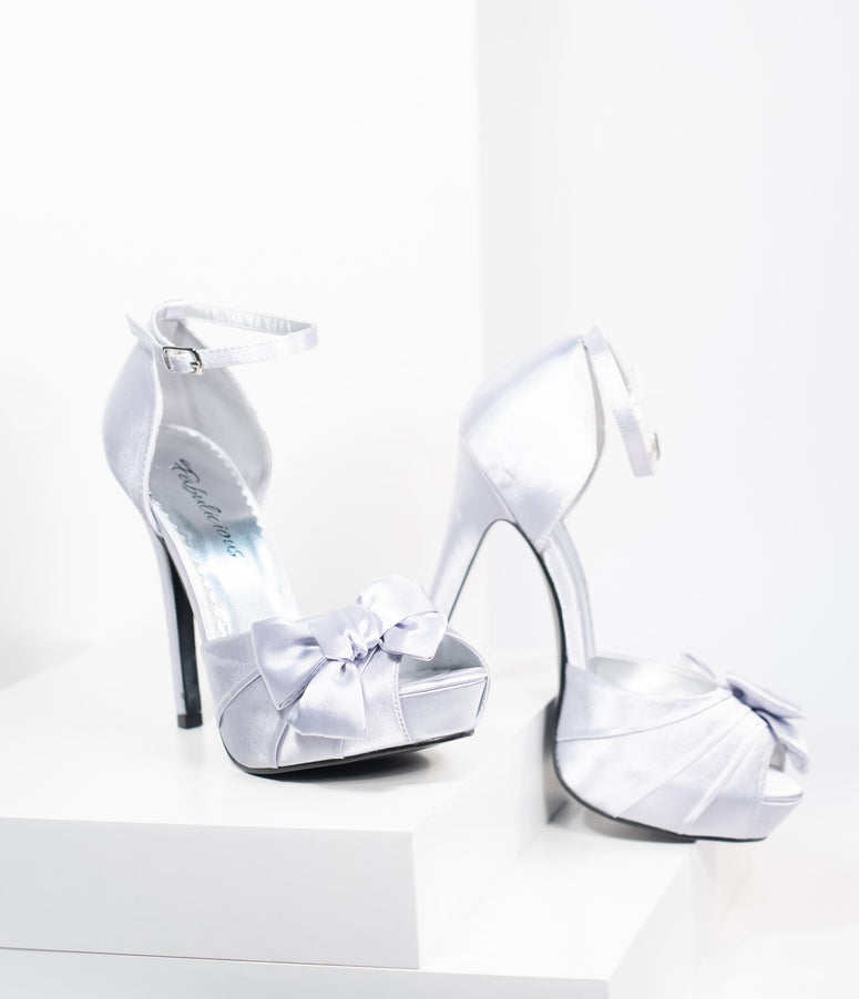 Silver Pleated Bow d'Orsay Pump