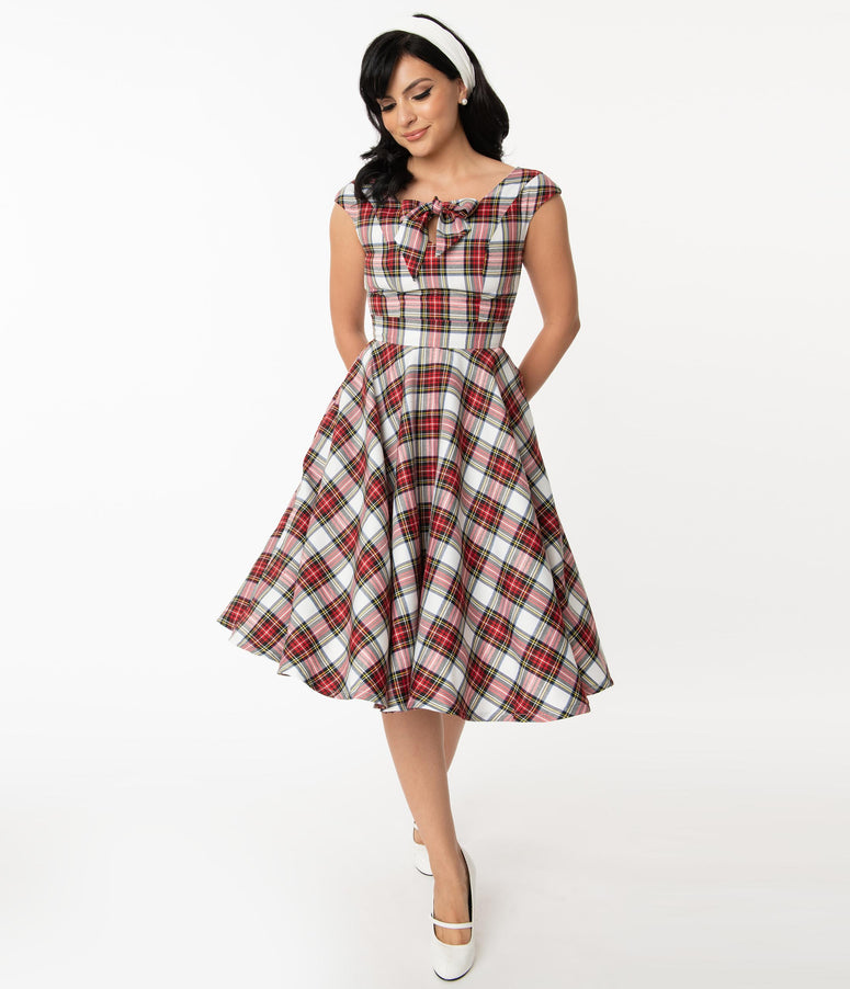 Magnolia Place Retro Red & White Plaid Sasha Swing Dress