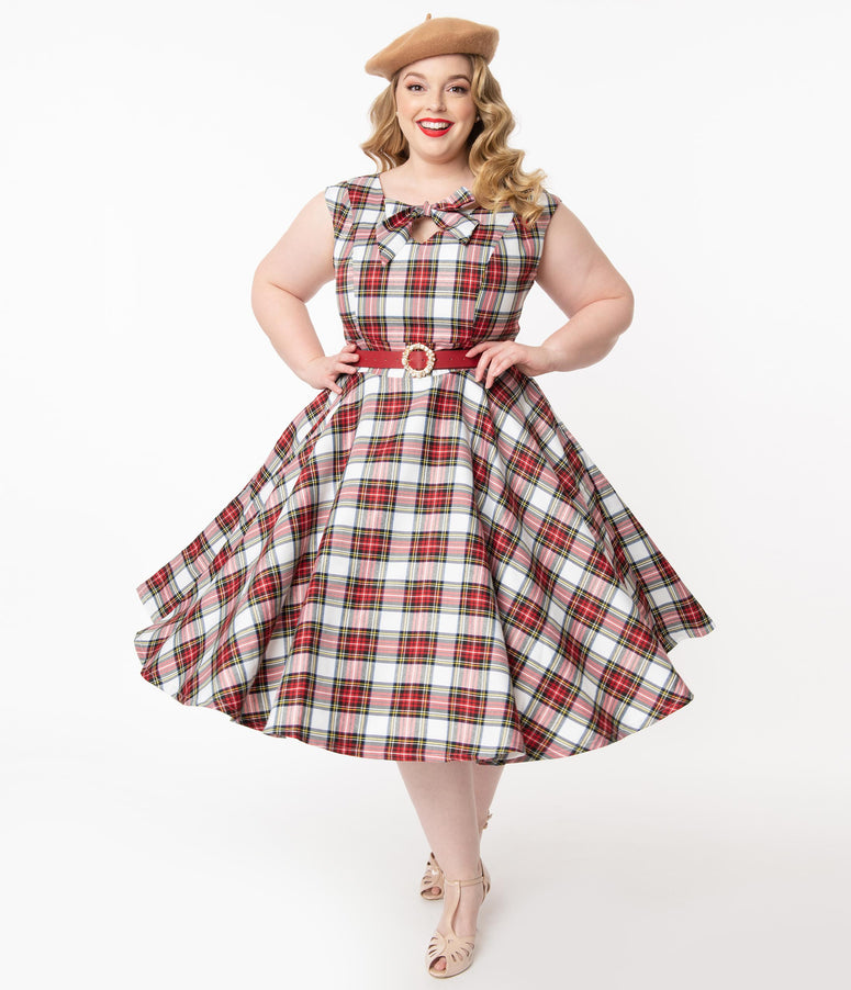 Magnolia Place Plus Size Retro Red & White Plaid Sasha Swing Dress