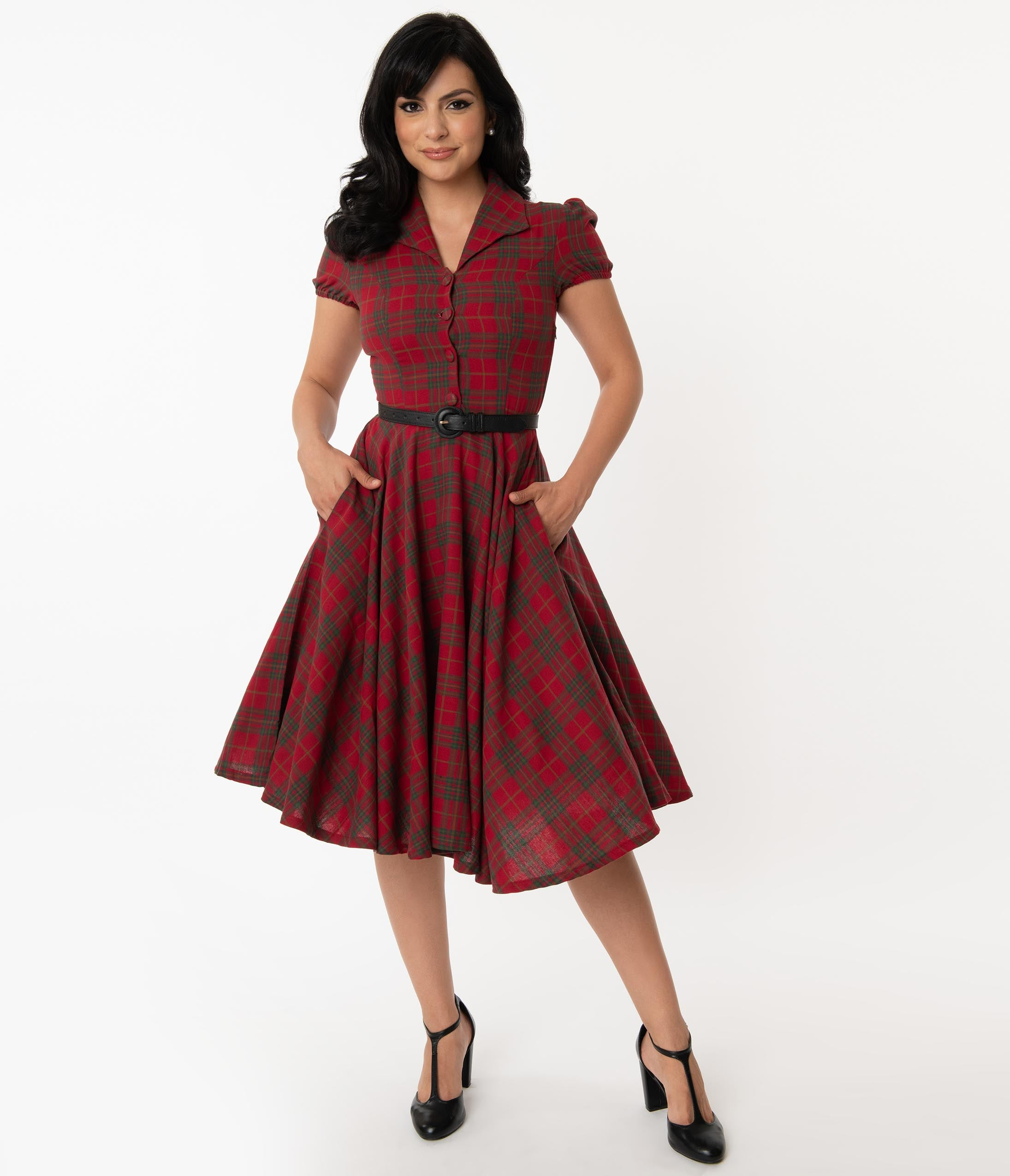 Vintage Red Dresses | Valentines Day Dresses, Outfits, Lingerie 1950S Style Red  Green Plaid Mona Swing Dress $88.00 AT vintagedancer.com