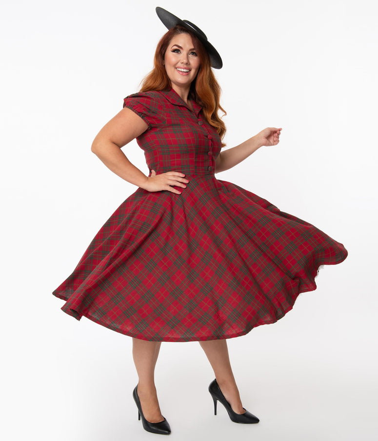 Plus Size 1950s Style Red & Green Plaid Mona Swing Dress
