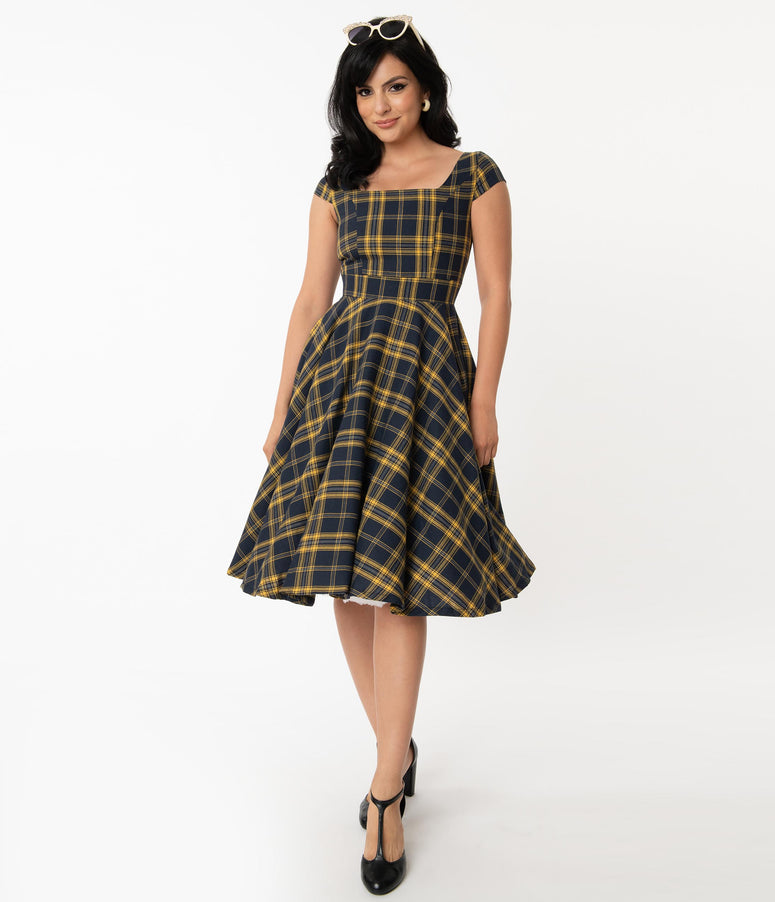 Vintage Style Navy & Yellow Plaid Anna Swing Dress