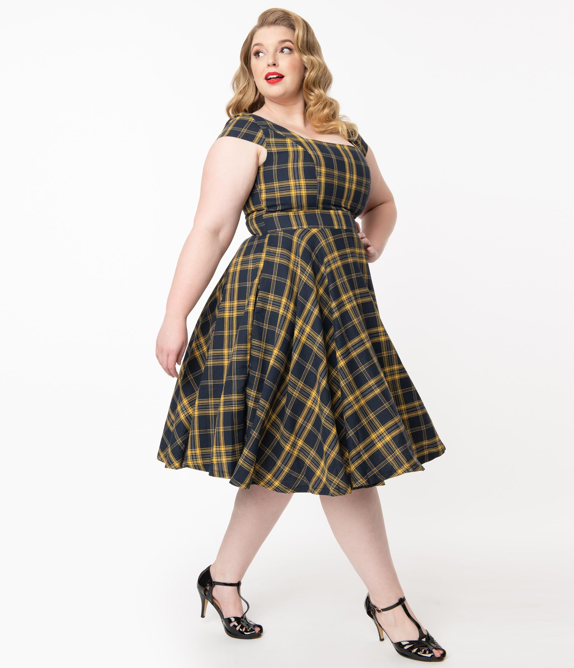 1950s Inspired Fashion: Recreate the Look Plus Size Vintage Style Navy  Yellow Plaid Anna Swing Dress $88.00 AT vintagedancer.com