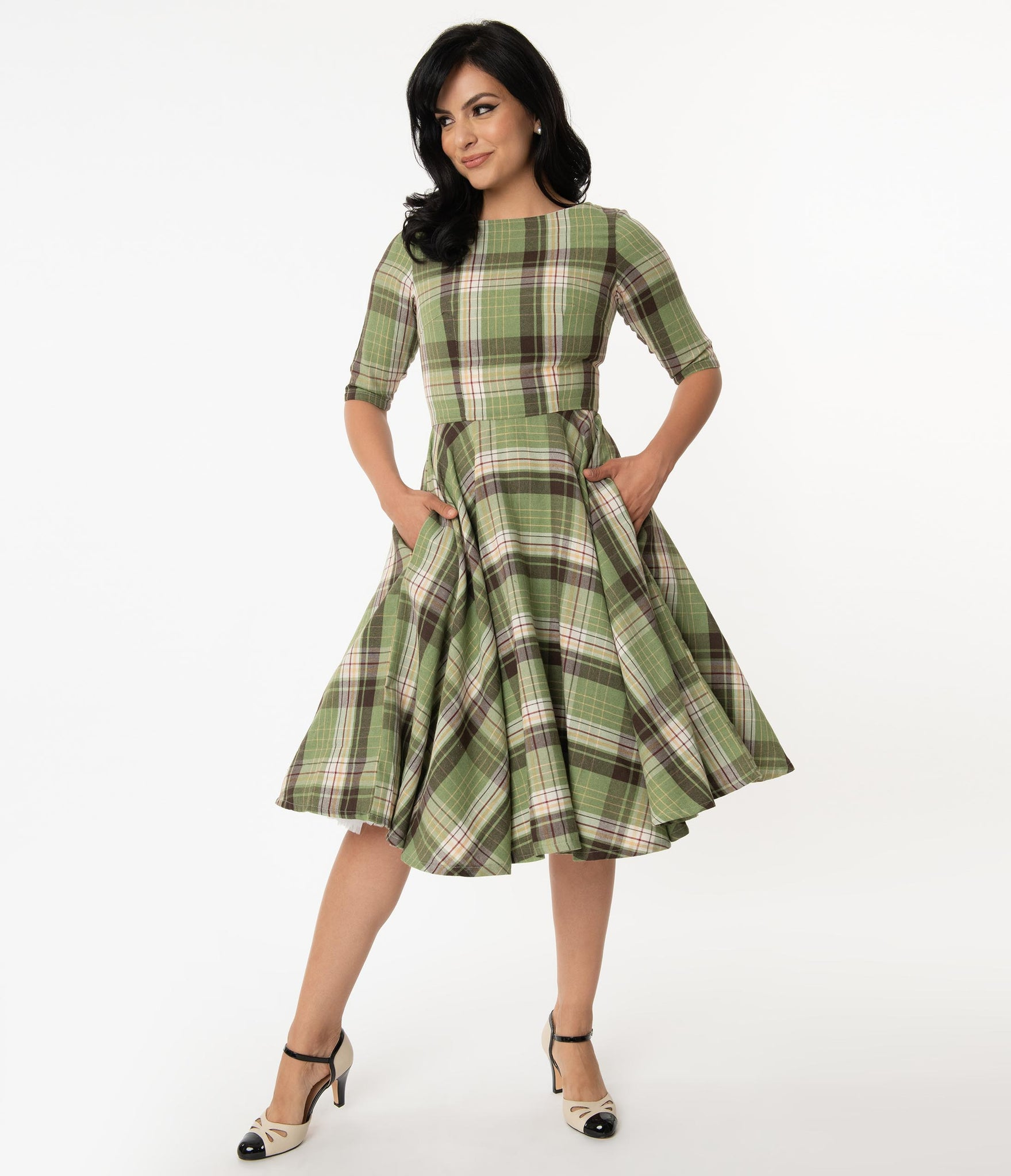 Light Green & Brown Plaid Sleeved Audrey Swing Dress