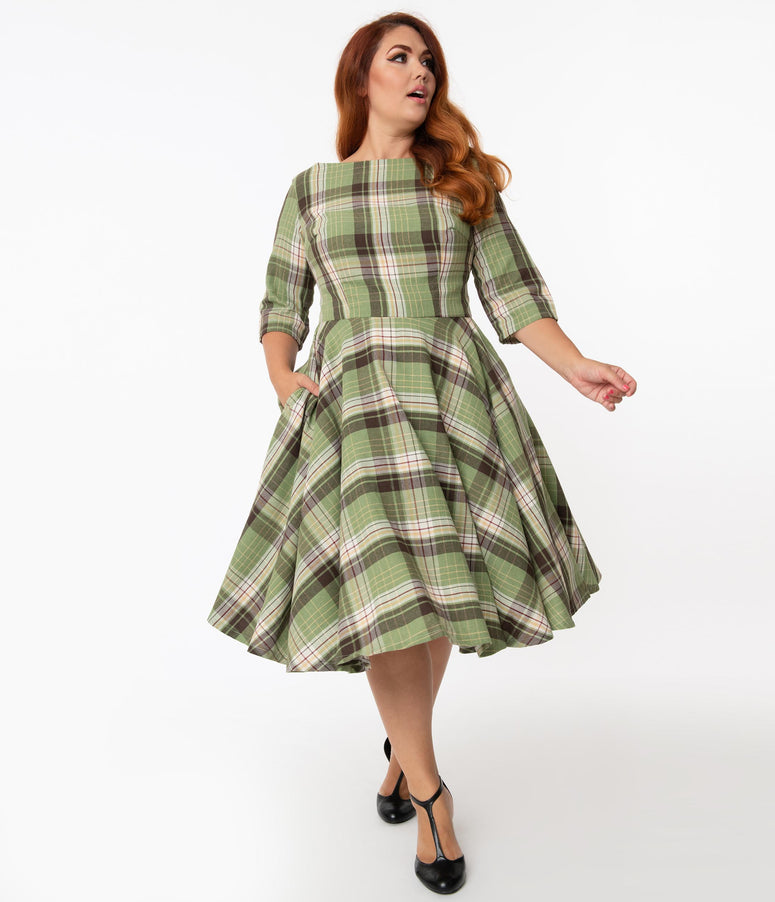 Plus Size Light Green & Brown Plaid Sleeved Audrey Swing Dress