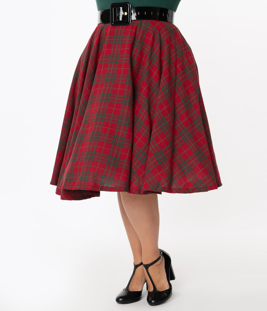 1950s Smart Red and Green Plaid High Waist Skirt with Front Kick Pleat and Side Metal Zipper with Button Closure-28 Waist