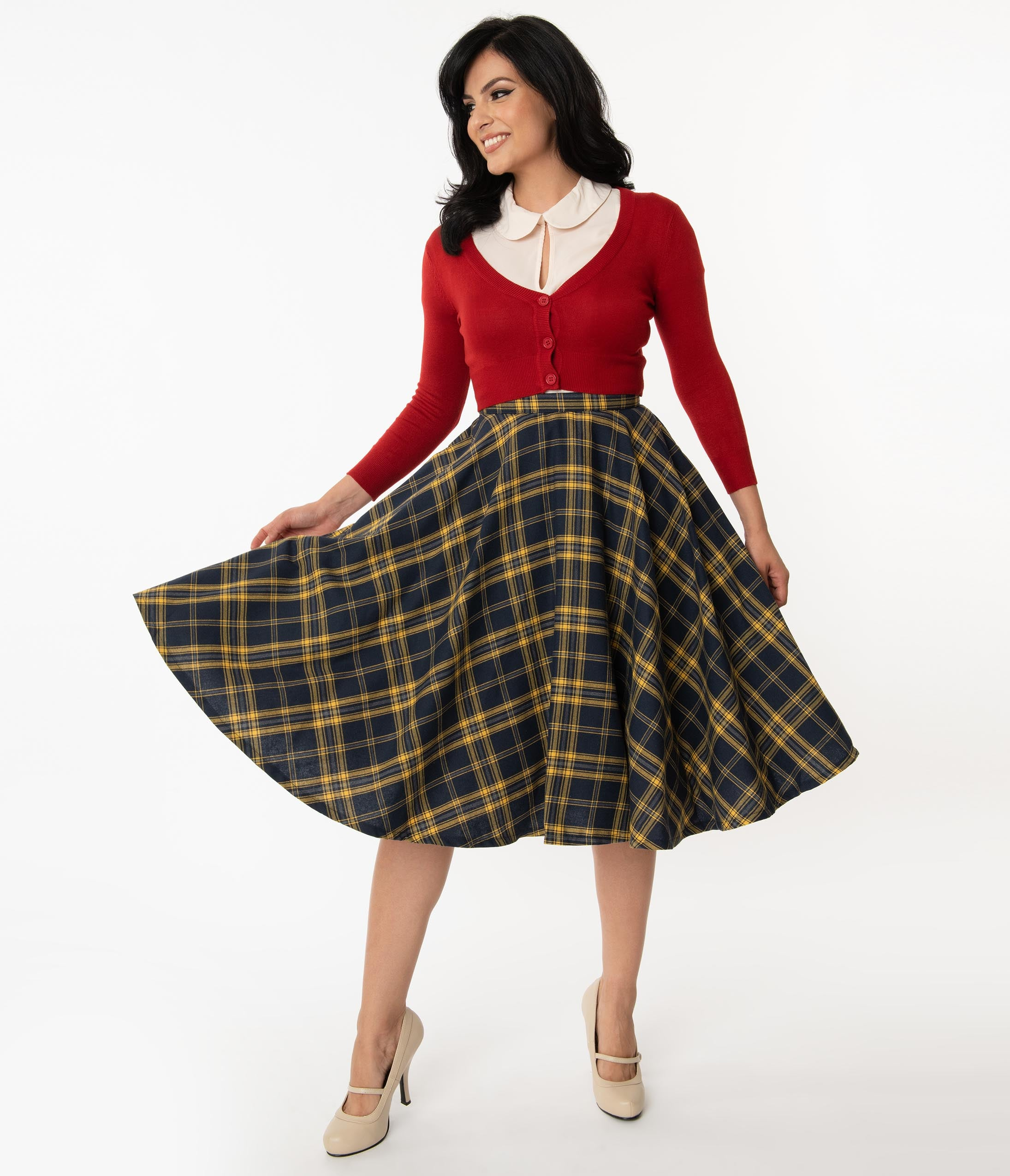 1950s Swing Skirt, Poodle Skirt, Pencil Skirts Vintage Style Navy  Yellow Plaid Circle Swing Skirt $58.00 AT vintagedancer.com