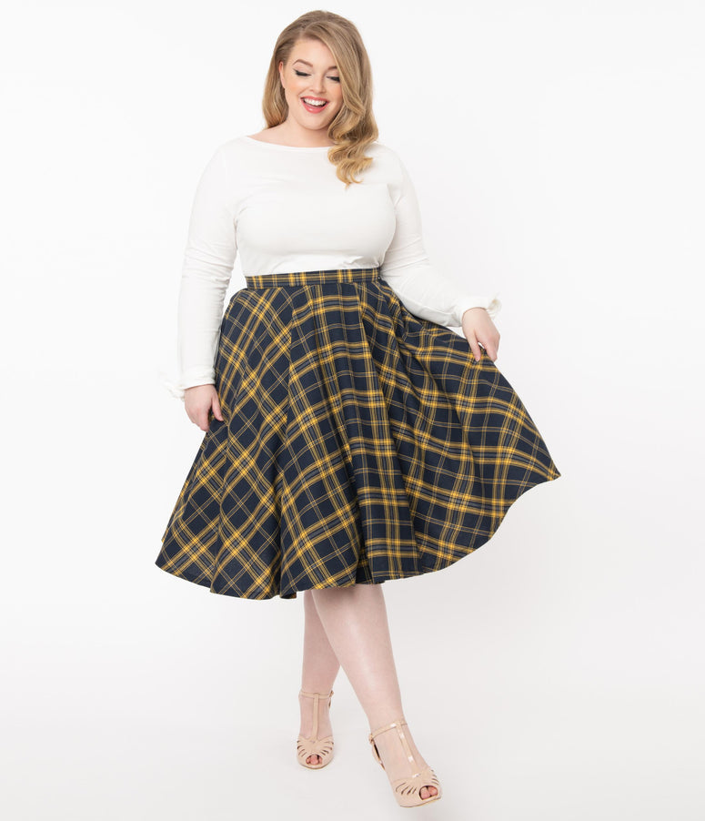 Plus Size Vintage Style Navy & Yellow Plaid Circle Swing Skirt