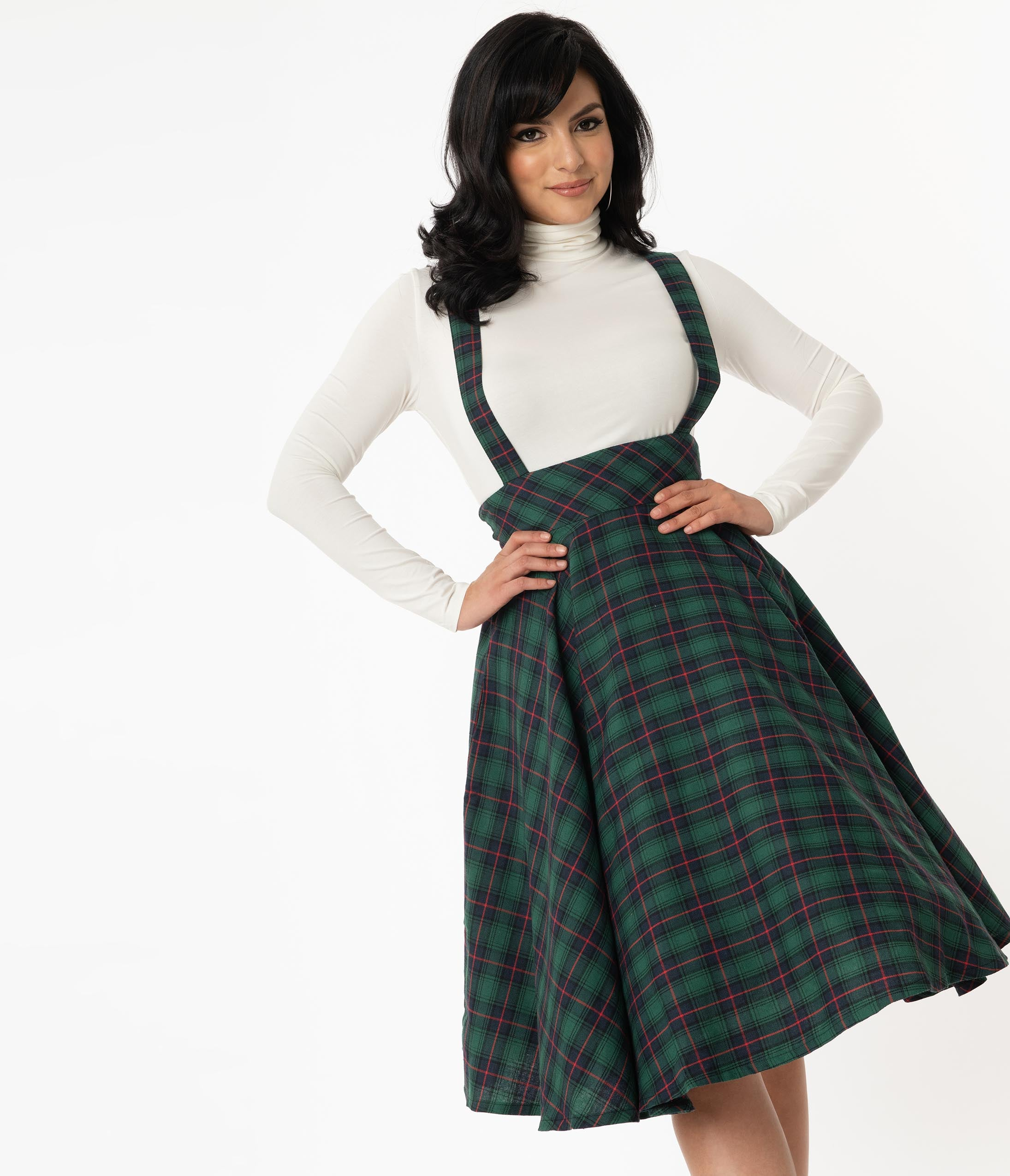 50s Skirt Styles | Poodle Skirts, Circle Skirts, Pencil Skirts 1950s Emerald  Navy Plaid Abby Pinafore Skirt $58.00 AT vintagedancer.com