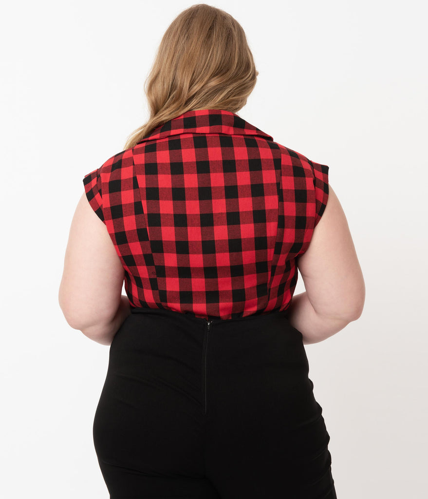Plus Size Black & Red Buffalo Plaid Tamara Blouse