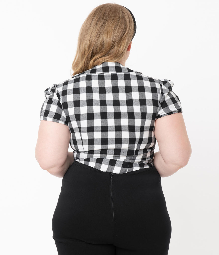 Plus Size 1950s Black & White Buffalo Plaid Elizabeth Blouse