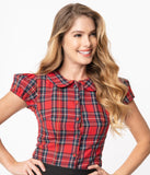 Magnolia Place 1950s Red & Black Tartan Plaid Elizabeth Blouse