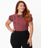 Magnolia Place Plus Size 1950s Red & Black Tartan Plaid Elizabeth Blouse