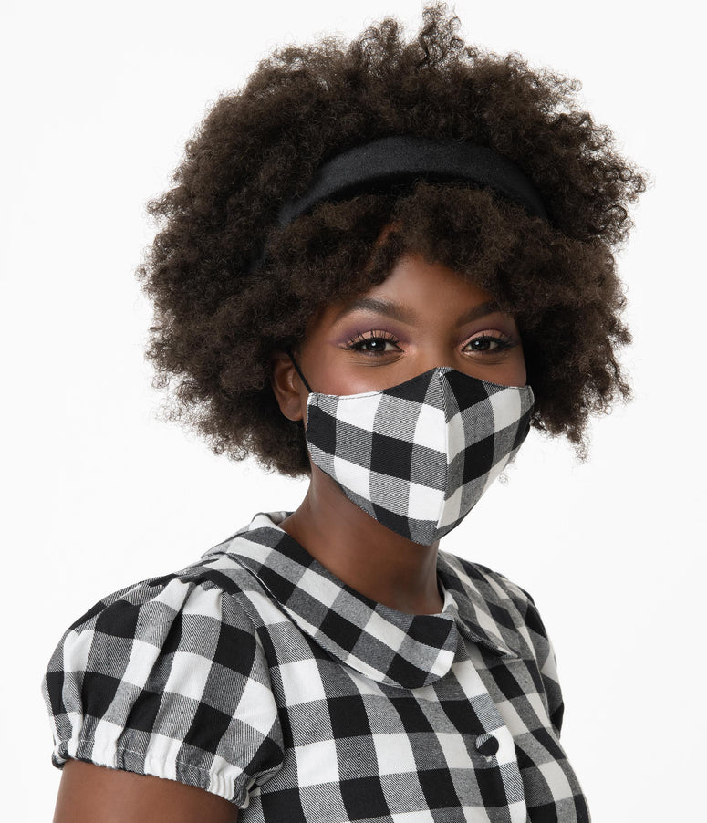Black & White Buffalo Plaid Print Face Mask