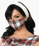 Red & White Plaid Print Face Mask