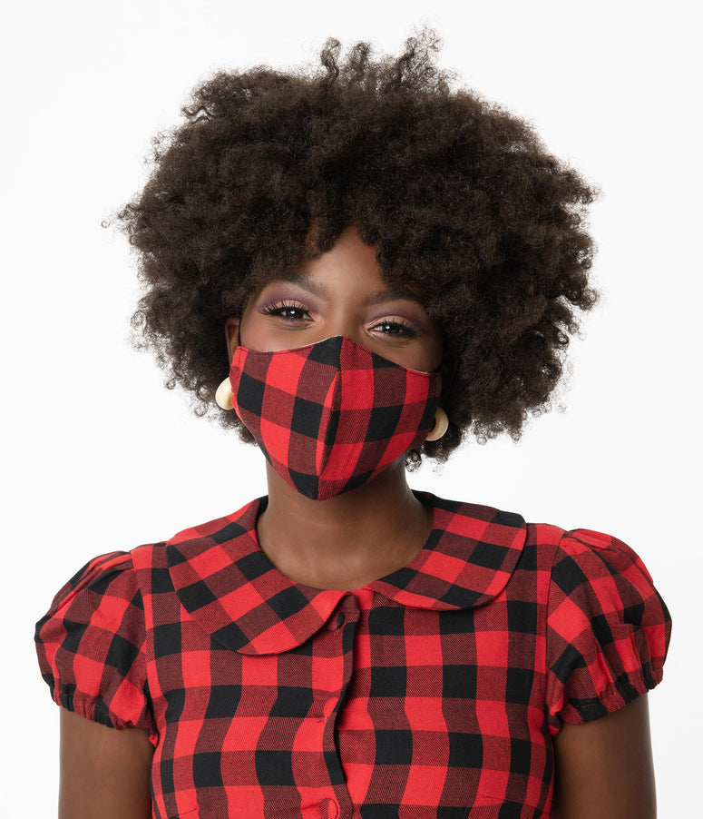 Black & Red Buffalo Plaid Print Face Mask
