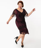 Plus Size 1920s Plum Beaded Marta Flapper Dress