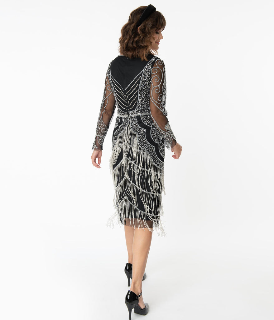 1920s Black & Silver Beaded Vancouver Flapper Dress