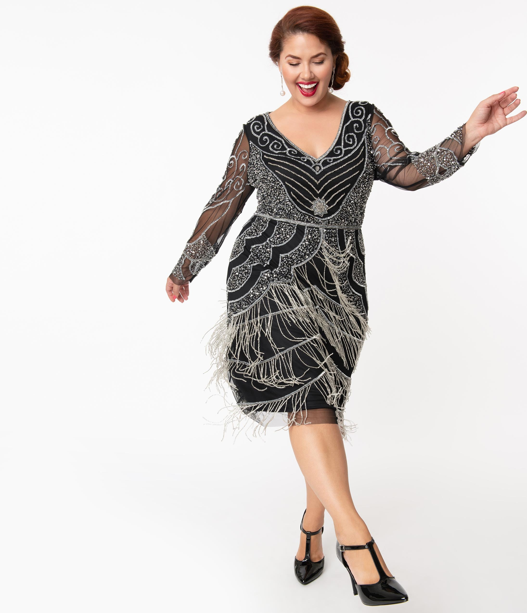 1920s Plus Size Flapper Dresses, Gatsby Dresses, Flapper Costumes Plus Size 1920S Black  Silver Beaded Vancouver Flapper Dress $168.00 AT vintagedancer.com