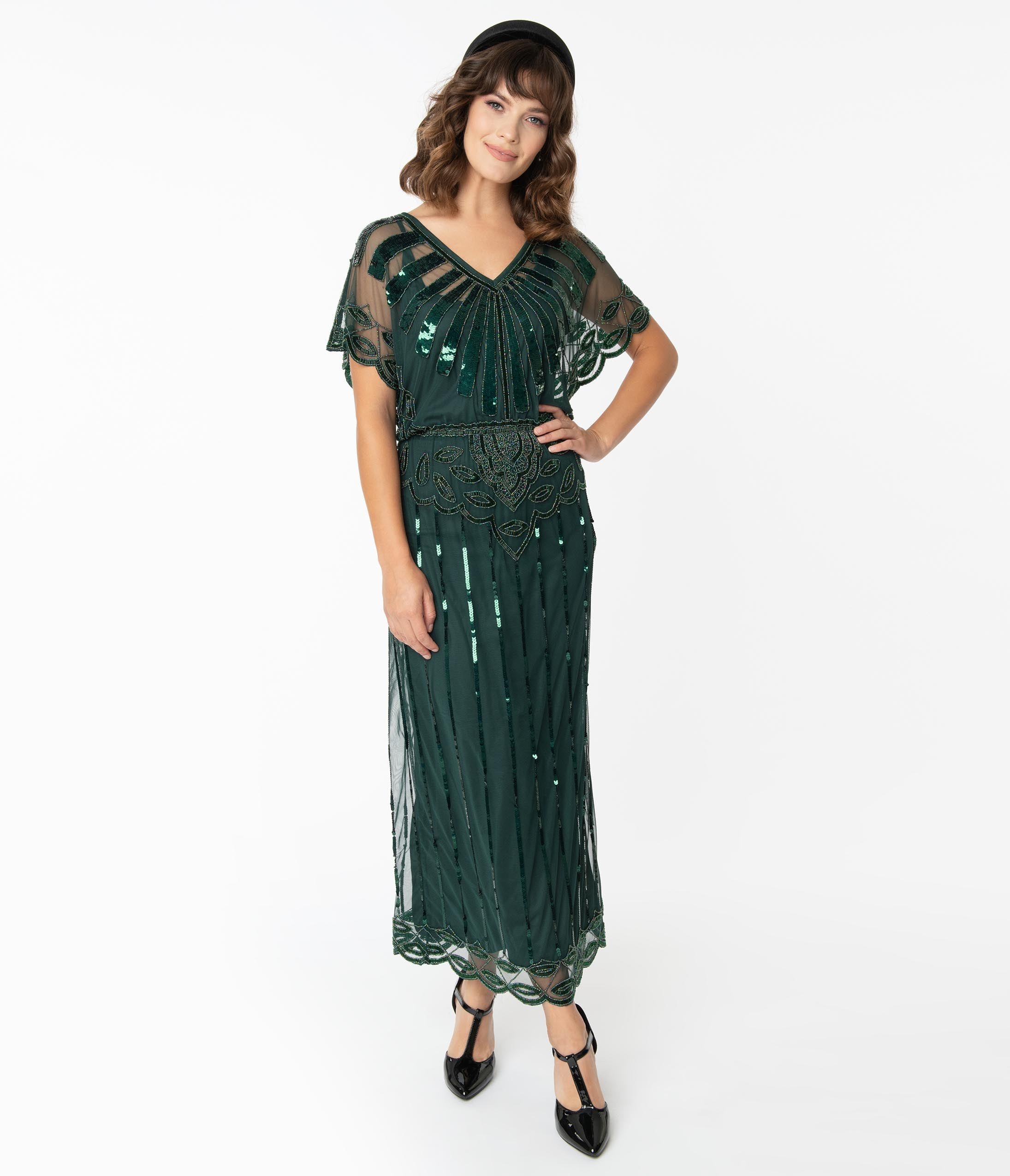 1920s Evening Dresses & Formal Gowns 1920S Forest Green Deco Angelina Maxi Flapper Dress $158.00 AT vintagedancer.com