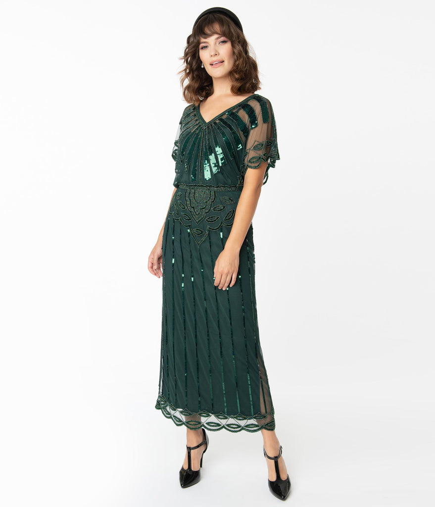 1920s Forest Green Deco Angelina Maxi Flapper Dress