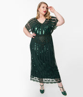 Plus Size V-neck Beaded Mesh Vintage Cap Sleeves Maxi Dress