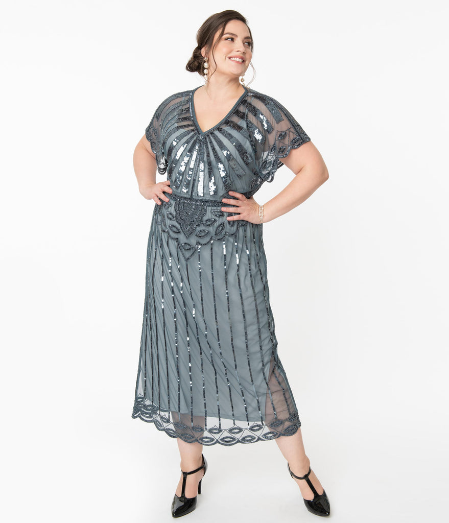 Plus Size 1920s Blue Grey Beaded Deco Angelina Maxi Flapper Dress