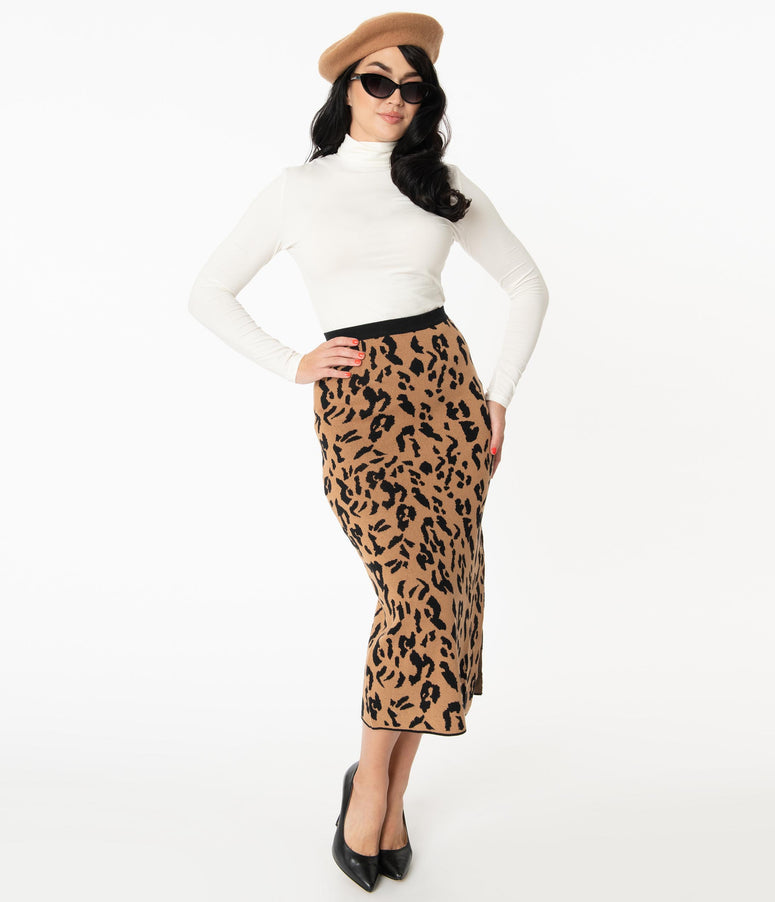 Retro Style Leopard Sweater Pencil Skirt