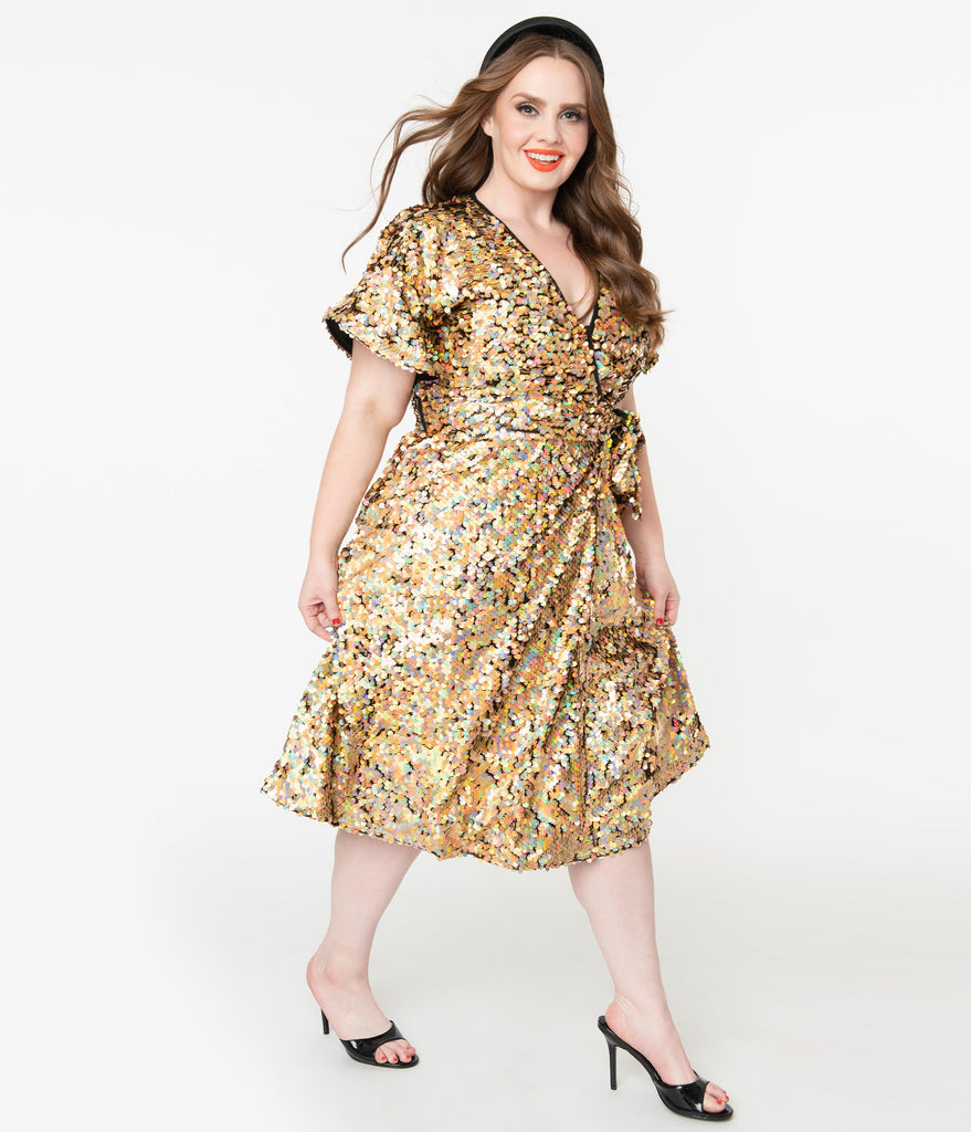 Plus Size Iridescent Gold Sequin Wrap Dress