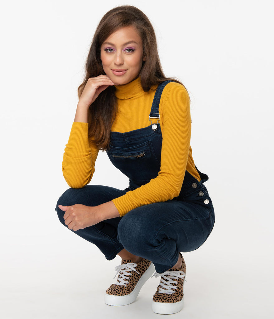 Retro Style Dark Denim Blue Skinny Overalls