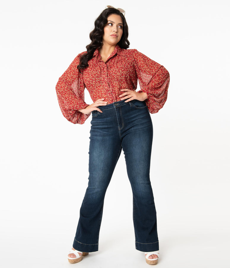 Plus Size Dark Blue Denim High Rise Flare Jeans