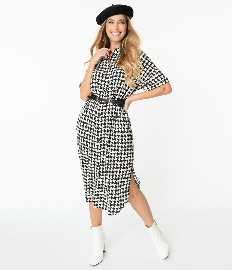 Black & White Houndstooth Midi Shift Dress