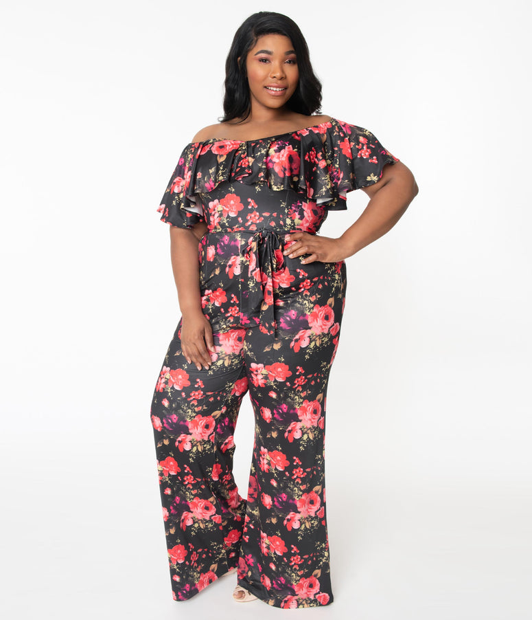 Unique Vintage Plus Size Black & Red Floral Print Ruffle Minnelli Jumpsuit