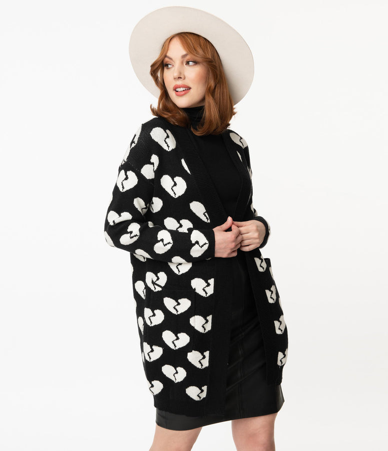 Black & White Broken Hearts Open Long Cardigan