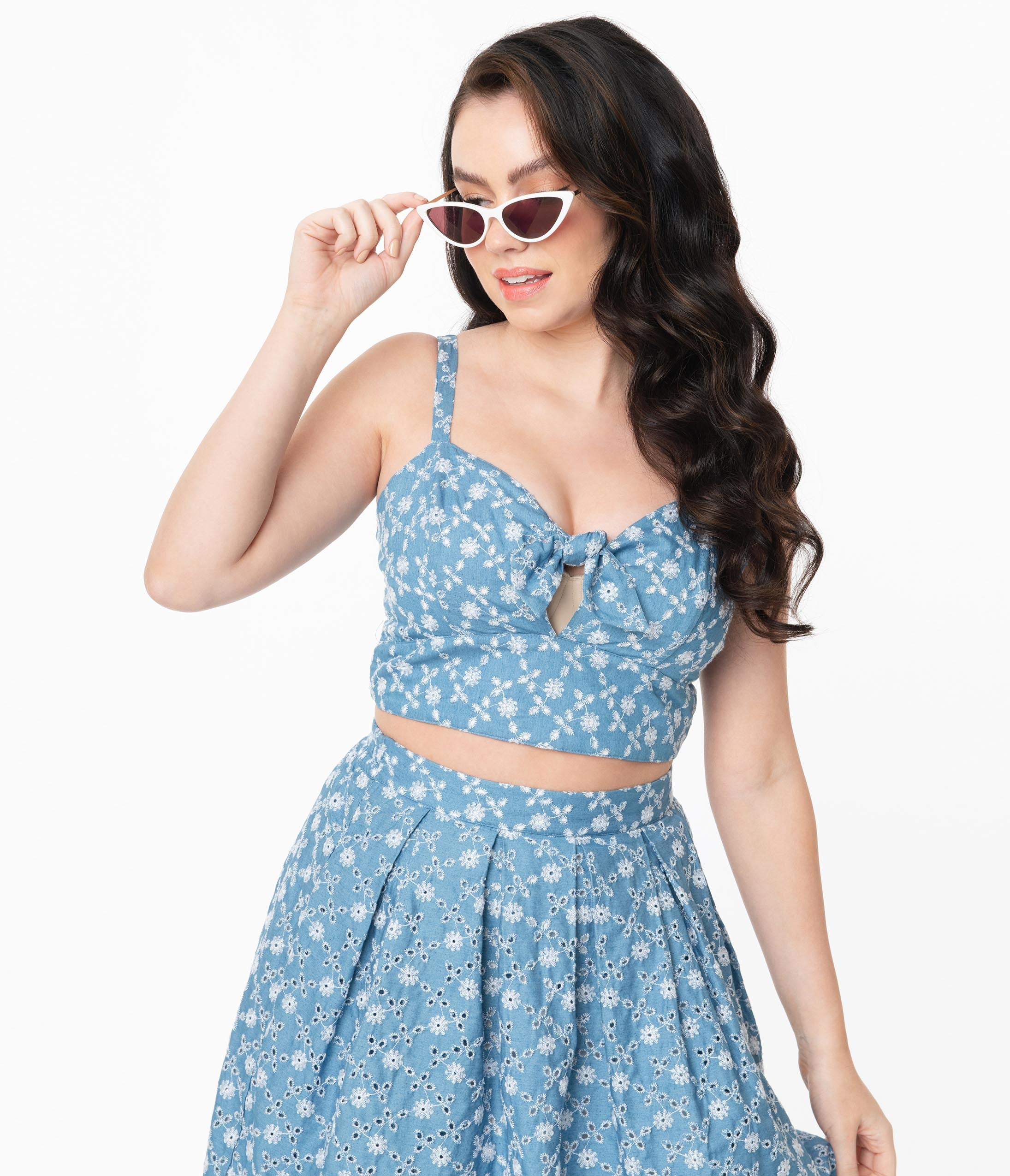 50s Shirts & Tops Unique Vintage Chambray Floral Eyelet Chessie Crop Top $38.00 AT vintagedancer.com