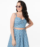 Unique Vintage Chambray Floral Eyelet Chessie Crop Top