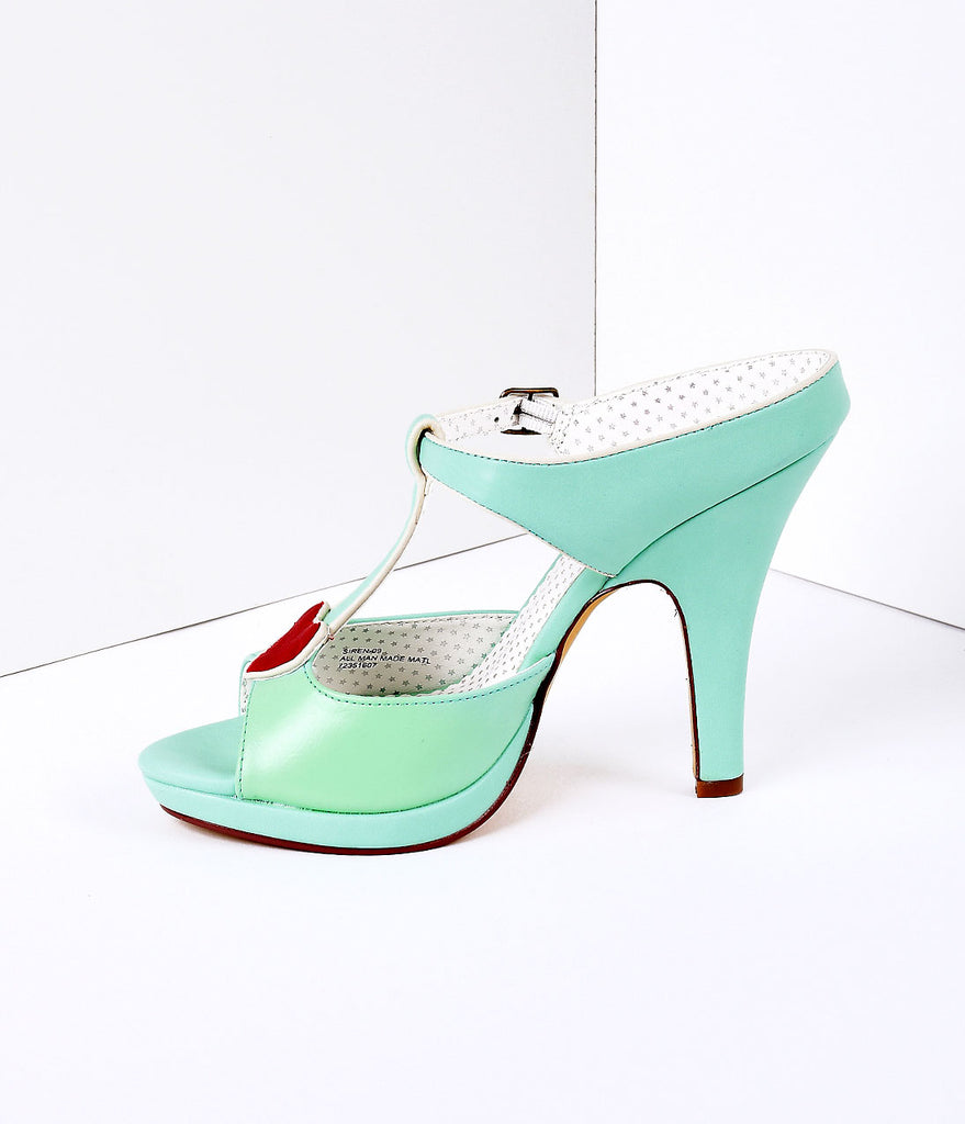 Mint Faux Leather Heart Detail Sandal